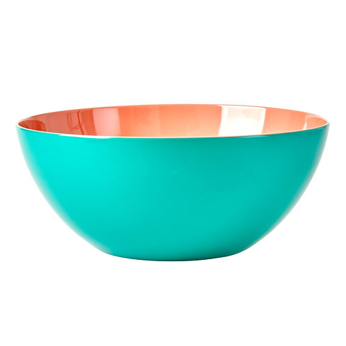 Melamine Salad Bowl in Two Tone - Jade and Apricot