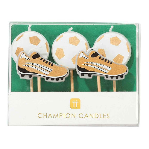 PARTY CHAMPIONS SHAPED CANDLES 5PK