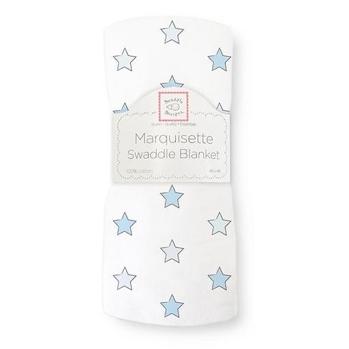 Marquisette Swaddle Blanket - Astro - Blue with Soft Black