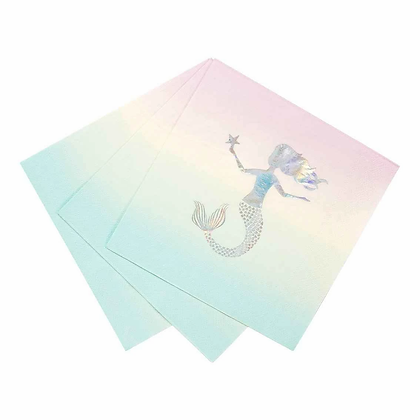 WE HEART MERMAID 33CM NAPKIN WITH FOIL PACK OF 16
