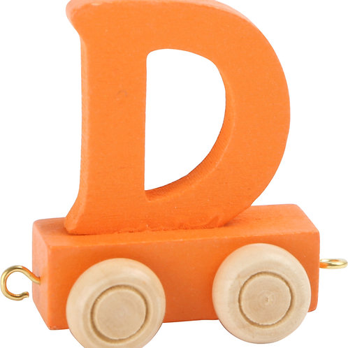 Colored wooden letter D