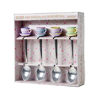 Teaspoons with Resin Tea Cup Decoration - 4 pcs.