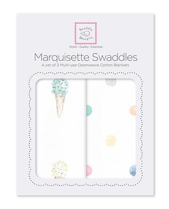 Marquisette Swaddle 2 pcs - Water Color - Ice Cream Cones and Multi Dots