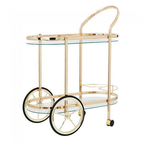 Cocktail Cart in Gold