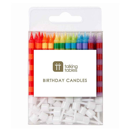 Birthday Bash Striped Candles 24Pk + 12 Holders