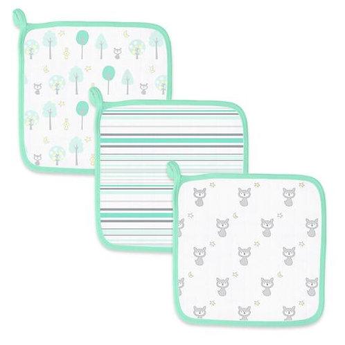 Mulsin Baby Washcloths 3PK - Green Woodland