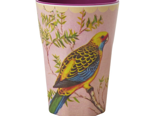 Melamine Cup with Vintage Budgie Print - Two Tall - Tall