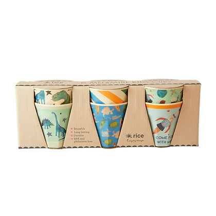 Melamine Kids  Cups with Asst. Dino Prints - Small - 6 pcs. in Giftbox