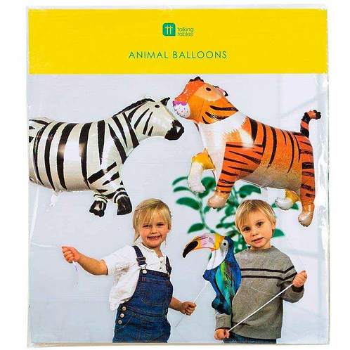 FOIL ANIMAL BALLOONS 3PK; ZEBRA, TIGER, TOUCAN