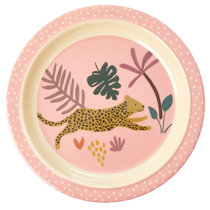 Melamine Kids Lunch Plate with Pink Jungle Animals