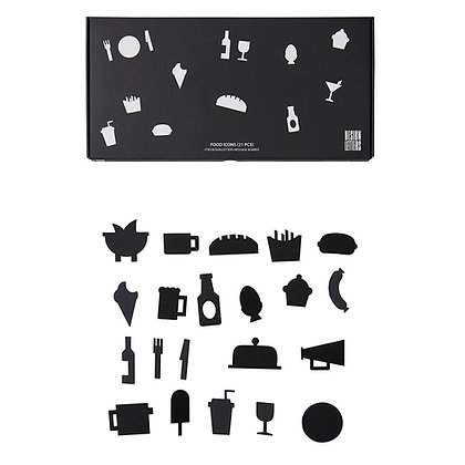 Food icons for Design Letters Board-21 pieces Black