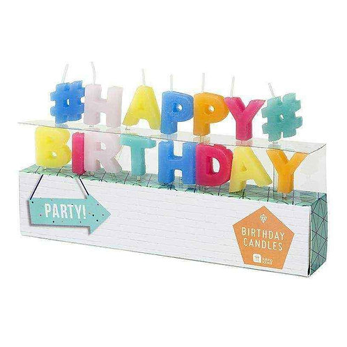 PARTY TIME HAPPY BIRTHDAY SHAPED CANDLES 15 LETTERS