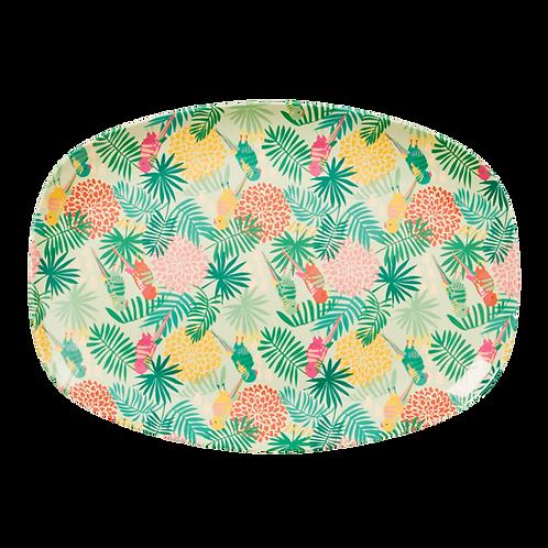 Rectangular Melamine Plate with Tropical Print