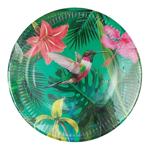TROPICAL FIESTA BRIGHT 9 INCH ROUND PAPER PLATES 12PK