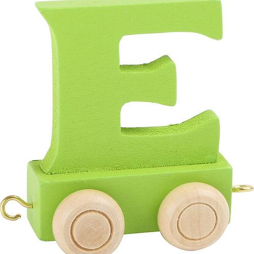Colored wooden letter E