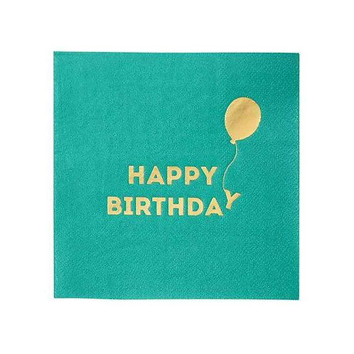BRIGHTS COCKTAIL HAPPY BIRTHDAY NAPKIN WITH FOIL 16PK