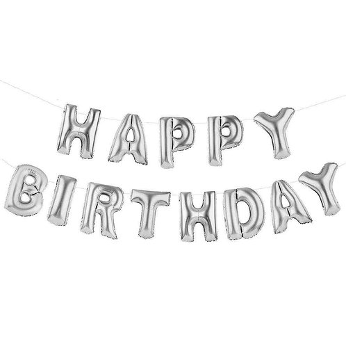 PARTY TIME HAPPY BIRTHDAY BALLOON BUNTING - SILVER