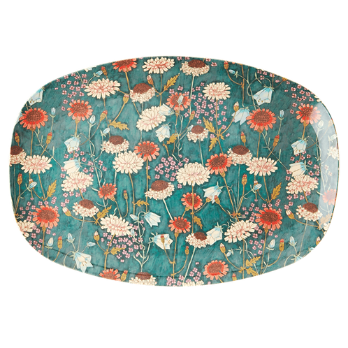 Rectangular Melamine Plate with Fall Flower Print