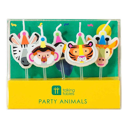 PARTY ANIMALS SHAPED CANDLES 5PK