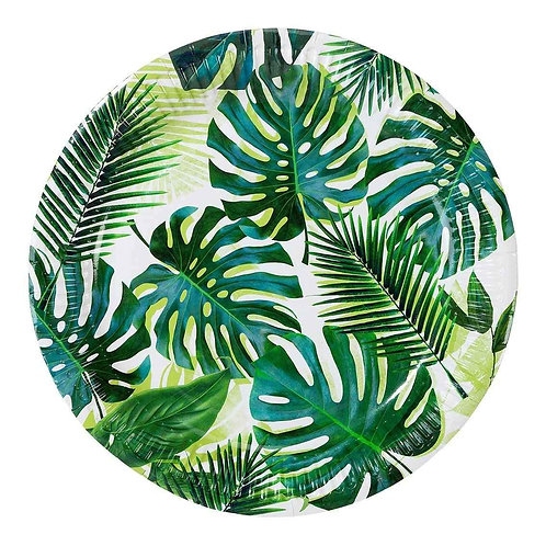 TROPICAL FIESTA PALM 9 INCH ROUND PAPER PLATES 8PK