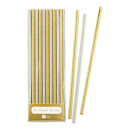 Modern Metallics Gold & Silver Foil Straws