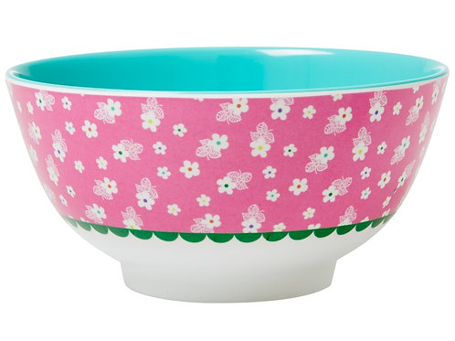 Melamine Bowl Two Tone with Pink Flower Print