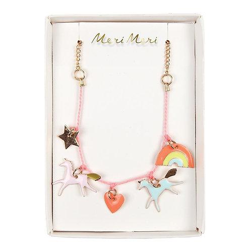 Unicorn Enamel Charm Necklace