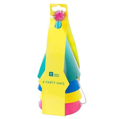 BRIGHTS PAPER HAT WITH ELASTIC 4PK