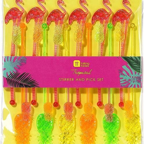 Tropical Fiesta Pineapple & Flamingo Stirrers