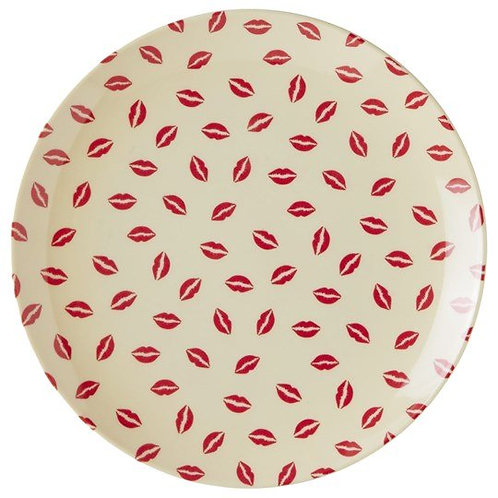 Melamine Dessert Plate with Kiss Print Red and Cream