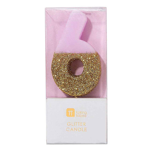 WE HEART BIRTHDAYS GLITTER NUMBER CANDLE 6