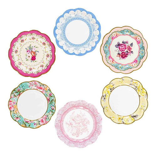 "TRULY SCRUMPTIOUS SMALL ""VINTAGE"" PLATE 12PK, 6 DESIGNS"