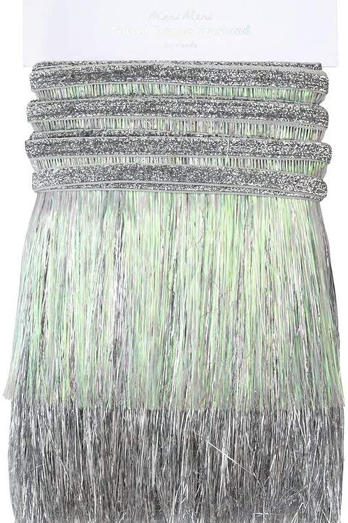 Silver iridescent Tinsel Fringe Garland