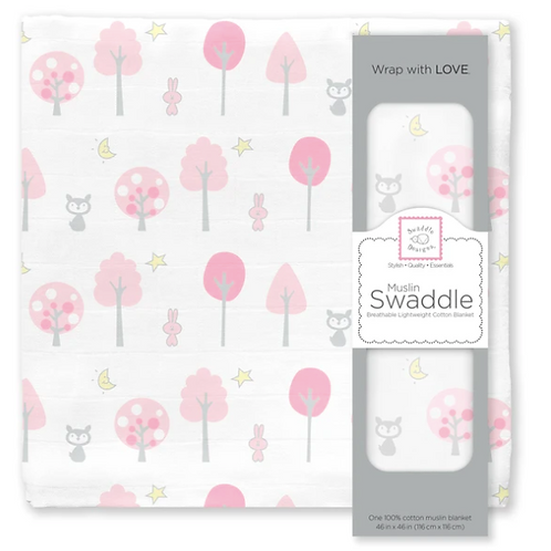 Muslin - Swaddle Single - Pink Thicket - Pink