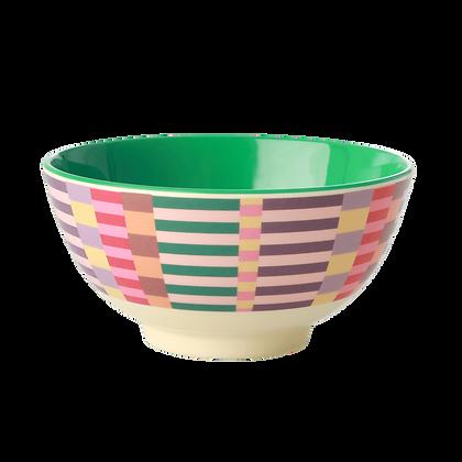 Melamine Bowl with Summer Stripes Print - Medium