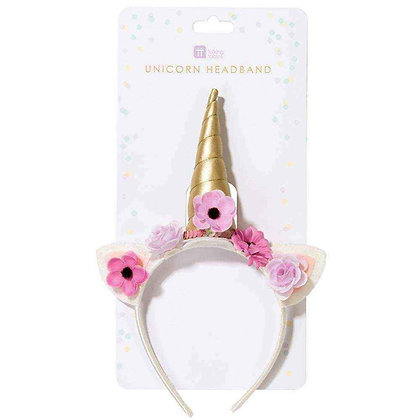 WE HEART UNICORNS HEADBAND WITH GOLD HORNS AND FLOWERS