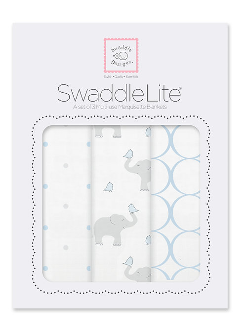 Swaddle Lite - Elephants and Chickies - Pastel Blue - 3 pcs