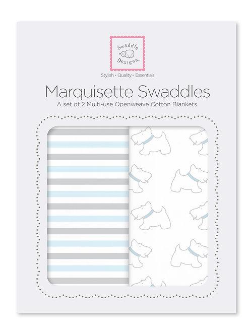 Marquisette Swaddle 2 pcs - Blue Simple Stripes + Little Doggie