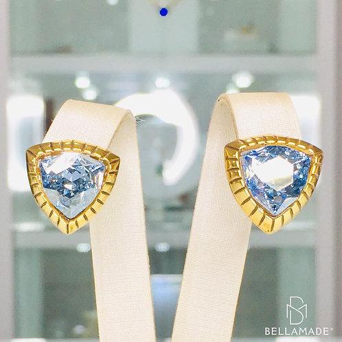 BRINCO CRISTAL SWAROVSKI BLUE SHADE. Banhado a Ouro Vintage