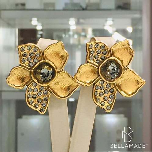 BRINCO CRISTAIS SWAROVSKI BLACK DIAMOND, Banhado a Ouro Vintage