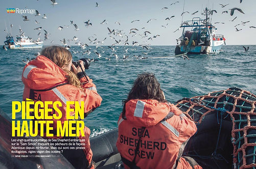 Greta Santagata filming trawlers in France for Sea Shepherd