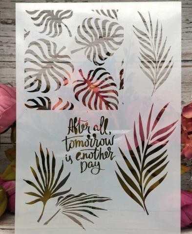 Tropical Leaf and Saying  -Stencil