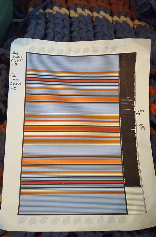 """I made this """"plan"""" for what I wanted my blanket to look like using a table in Open Office. I left a free column on the right with the row numbers so that I could mark them off as I went and not lose which row I was on!"""