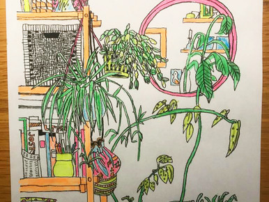 A beautiful neon colored drawing from Loes!
