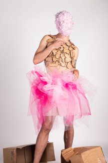 Lasercut wooden top with twine connections, tulle skirt, and floral mask designed, styled, and photographed by Daniel Roa