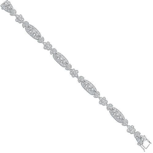 Silver Fancy Cz Bracelet