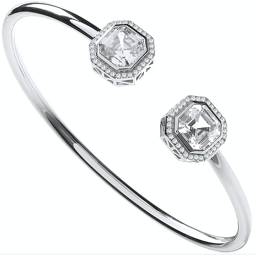 Silver Octagon CZ Torque Hollow Bangle