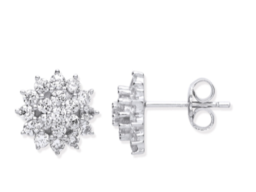 Silver Traditional CZ Cluster Studs