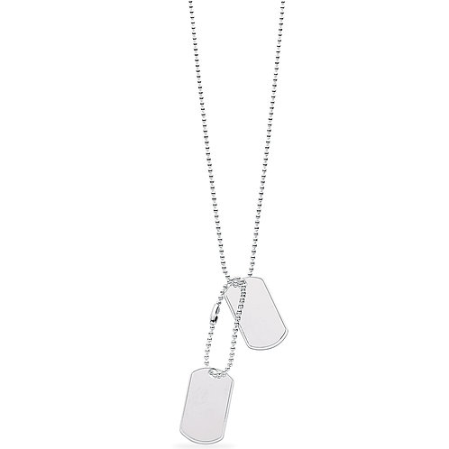 "Silver Dog Tags 20"" Chain"