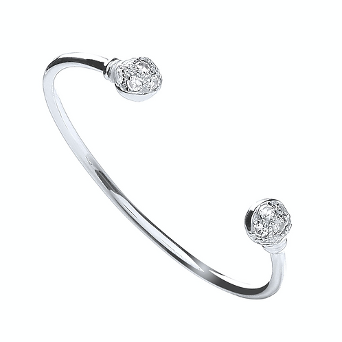 Silver Baby Cz Ball Torque Bangle